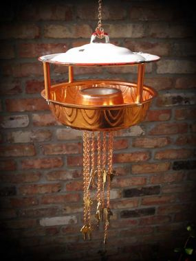 Porcelain Lid & Copper Bundt Mold = Bird Feeder!